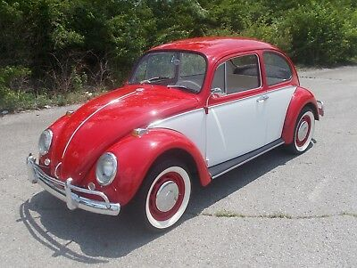 1966 Volkswagen Beetle - Classic RED / WHITE 1966 VW BEETLE TOTAL RESTORATION LOOKS LIKE IT JUST ROLLED OF THE ASSEMBLY LINE