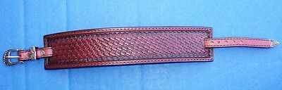 "Western Jewelry Hand Tooled Top Grain Leather 1 1/2"" Wide Bracelet Made In USA"