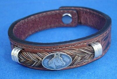 Western Jewelry Hand Tooled Leather QH Concho Bracelet W/SS Caps Size Small