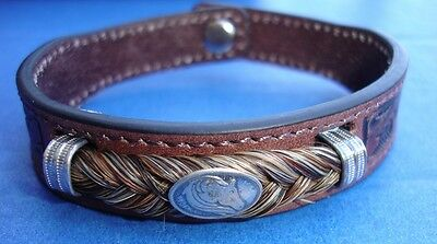 Western Jewelry Hand Tooled Leather Equine Concho Bracelet  W/SS Caps Size Large
