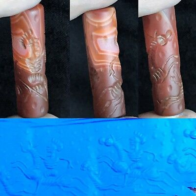 Wonderful Ancient Agate Carnelian Stone Well Carved Cylinder Seal