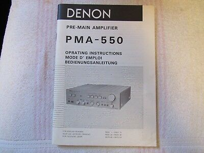 Denon Brand. Model Pma-550. Pre-Main Amplifier. Owner's Manual.