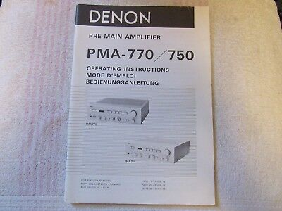 Denon Brand. Model Pma-770/750. Pre-Main Amplifier. Owner's Manual.