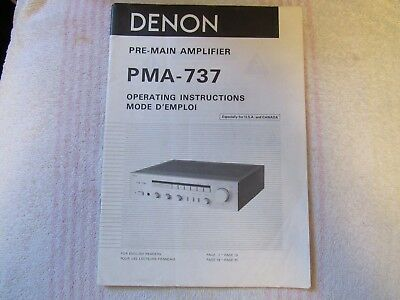 Denon Brand. Model Pma-737. Pre-Main Amplifier. Owner's Manual.