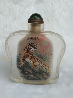 Rare old Chinese Glass Inner wall Hand Painted Tiger  Snuff Bottles