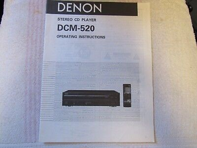 Denon Brand. Model Dcm-520. Stereo Multi Cd Player. Owner's Manual.