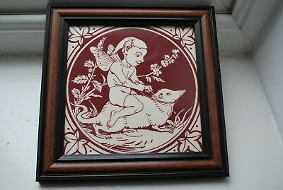 Vintage Framed Ceramic Tile with A  Pixie riding a Mouse. Made in England