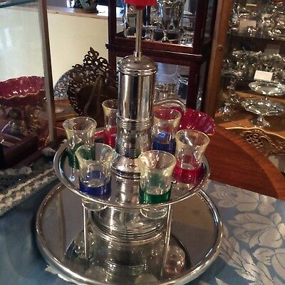 Vintage Deco Chrome Pump Liquor Dispenser with 6 Colored Shot Glasses Fun VG
