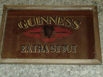 Vintage Bar Mirror Wooden Frame Guinness Extra Stout Good Condition