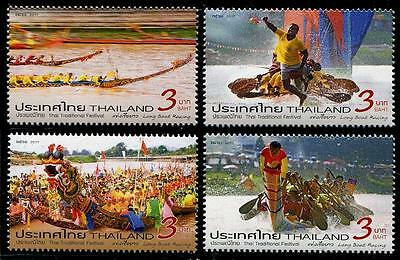 Long Boat Racing mnh set of 4 stamps 2017 Thailand traditional festival