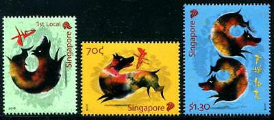 year of the Dog mnh set of 3 stamps 2018 Singapore holiday new year