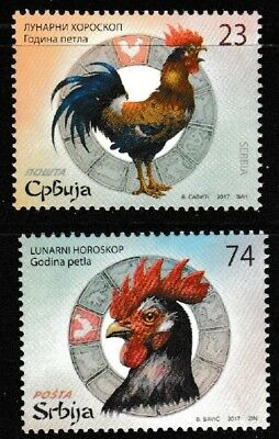 Year of the Rooster 2 mnh stamps 2017 Serbia