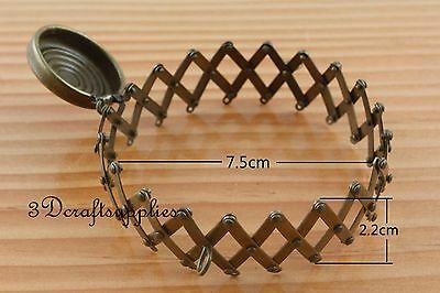 7.5cm Open size Vintage expandable gate purse frame (with loops) anti brass Z45B