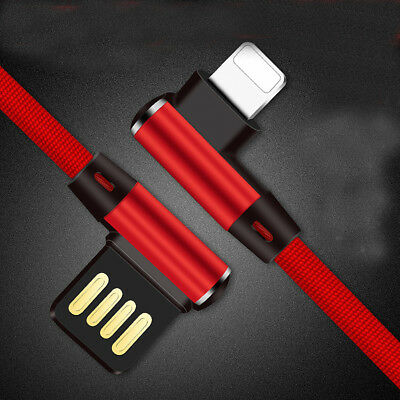 ELBOW 90 Degree USB Braided Charger Data Sync Cable Line For iPhone 5 6 7 8 X