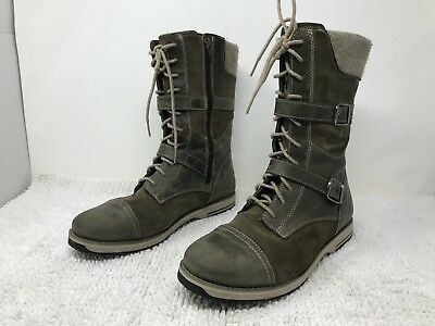 LL Bean Park Ridge Womens Lace Up Zip Boots Leather Suede Wool Size 8.5 Brown