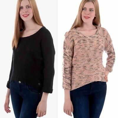 New Ladies Casual Jumper Womens Knitwear Pink Black Knitted Top Ribbon Back