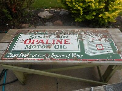 Vintage PORCELAIN Sinclair Gas Station Oil Advertising Sign with Can - ORIGINAL