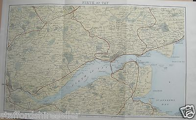 Antique Victorian Map c1890 Firth of Tay Scotland