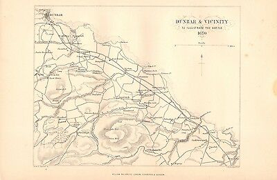 Antique Victorian c1880 Map: Dunbar and Vicinity Battlefield 1650