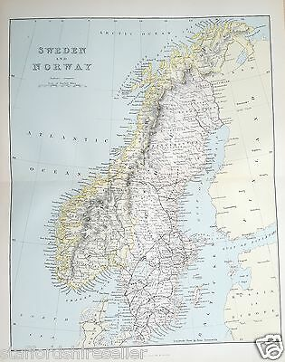 Antique Victorian Print c1880 Map of Sweden and Norway
