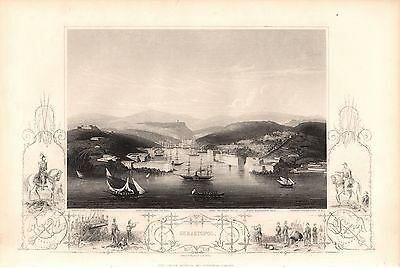 Antique Victorian Engraving Crimea War c1860: Sebastopol Showing Forts Guns