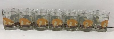 Lot of 7 Sakura Cat Collection William Kimble Double Old Fashioned Glasses