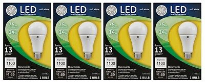 4 Pack of GE 75W Equivalent (Uses 14W) 1100 Lumens Soft White A21 LED Bulb