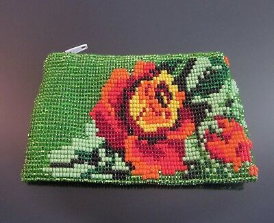 Huichol Mexican Beaded Coin Purse Bag Handmade Glass Bead Folk Art Handbag