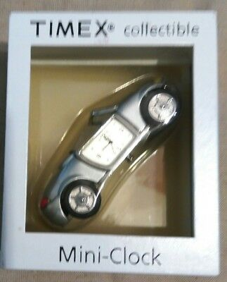 New TIMEX Collectible Mini Clock Silver Car Novelty Shelf Clock w/ Original Box
