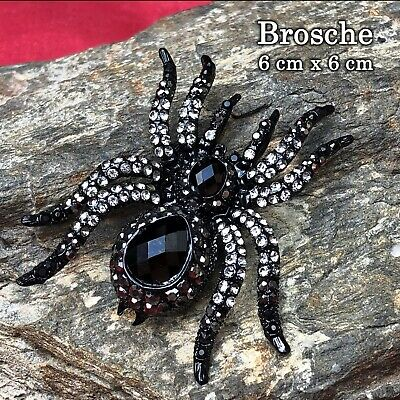 6cm Spinne Brosche Strass Pullover Gothic Hose Jeans Buttons Pin Helloween Skull