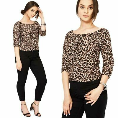 New Ladies Girls Leopard Print Crop Top Button Down Shirt Bardot Cropped Blouse