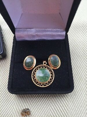 14k Solid Gold Pendant And Earrings Green Stone