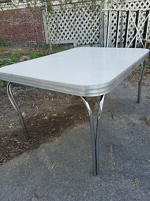 """Mid-Century, Gray """"Cracked Ice"""" Chrome & Formica Kitchen Table (no chairs)"""