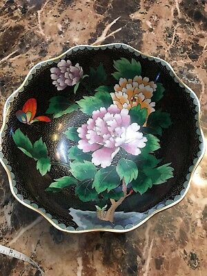 Cloisonne Bowl, Peonies And Butterflies