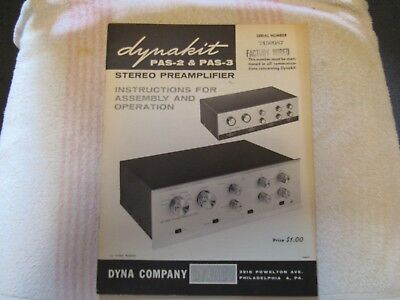 Dynaco/dynakit Brand. Model Pas-2 & Pas-3. Stereo Pre Amplifier. Owner's Manual