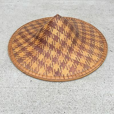vtg COOLIE HAT Asian sun rice patty bamboo straw Chinese Japan cone woven Rare