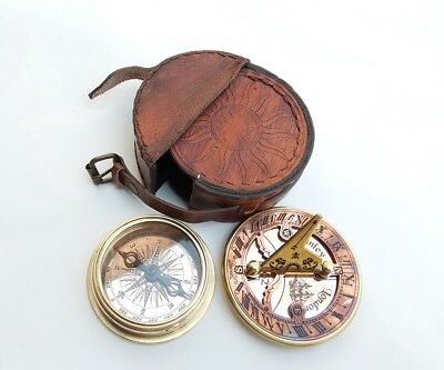 Antique Brass Sundial Compass Nautical Compass With Leather Case Vintage Replica