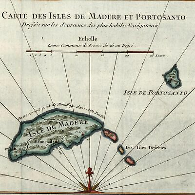 Madeira Porto Santo islands Funchal 1746 old antique map decorative