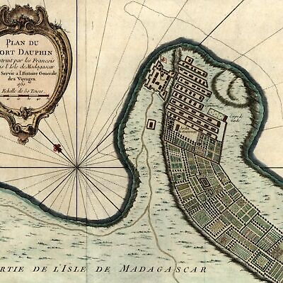 Africa madagascar Fort Dauphin detailed plan c.1750 Bellin old antique map