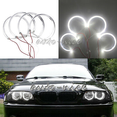 4x131 For BMW E39 E46 3 5 Series Xenon White Light Guide LED Angel Eye Halo Ring