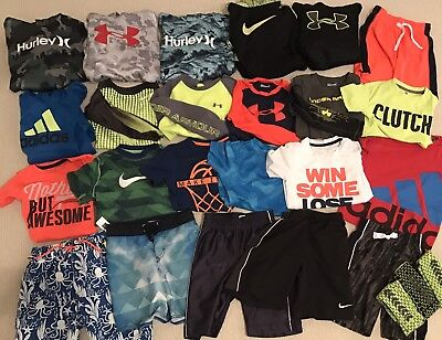 Lot of Nike Under Armour Adidas youth Small 6/7 Shirts Shorts (23 Items)