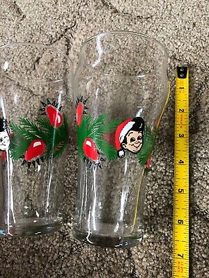 "Elbys Big Boy Restaurant & Bakery 6"" Tall Christmas Glass x 2"