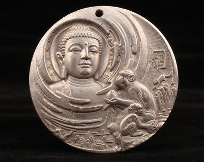 Chinese Tibet silver pendant statue old Buddha monkey double-sided inscription
