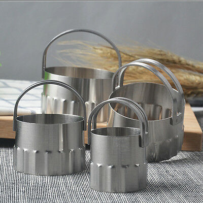 4PCS/Set Stainless Steel Round Circle Shaped Biscuit Cutters with Fluted Edge