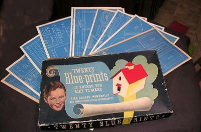 VTG 1939 WHITMANS 20 Blueprints Things To Make BOXED WOODWORKING BOYS CRAFT SET