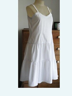 Antique vintage french nightdress, petticoat, day dress white cotton chemise