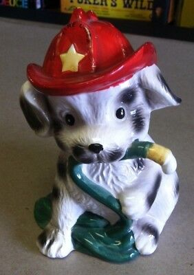 Vintage 1980's Fire Chief Dalmation Dog Ceramic Coin Bank Giftco