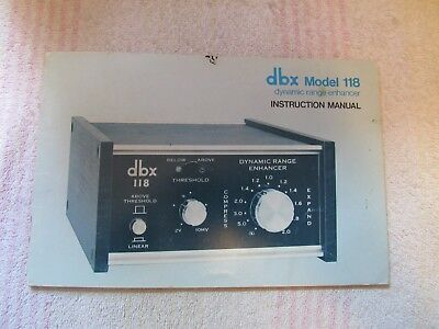 dbx BRAND. MODEL 118. DYNAMIC RANGE ENHANCER. OWNER'S MANUAL