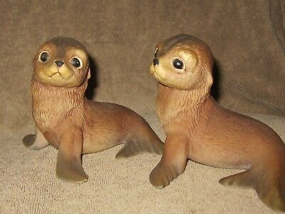 Two Bisque Seal Figurines~Signed RJ Brown~RSL 1978~Numbered