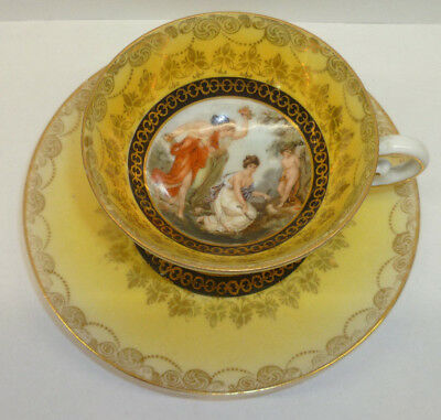 Antique Beehive Mark Royal Vienna Demitasse Footed Cup  Saucer Classical Scene